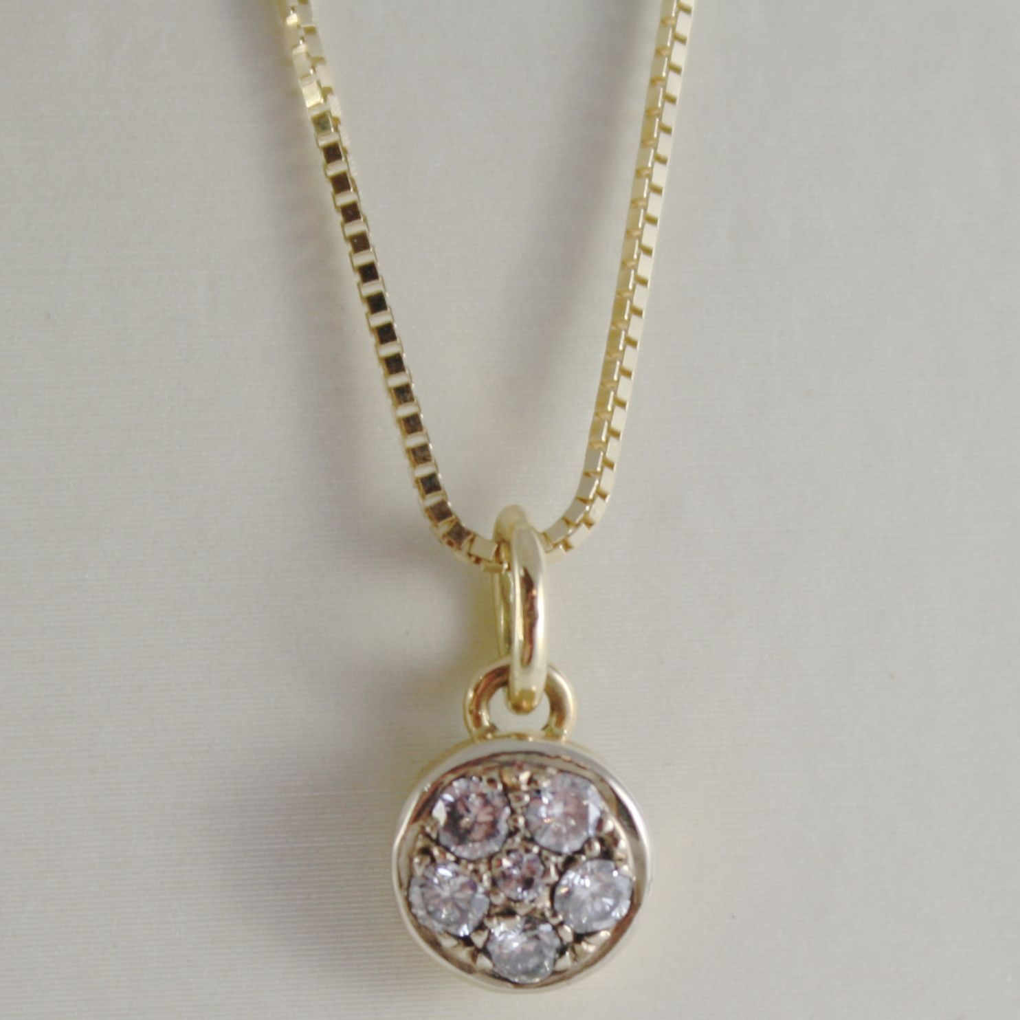 18K YELLOW GOLD NECKLACE WITH DIAMONDS 0.25 CARATS VENETIAN CHAIN MADE IN ITALY