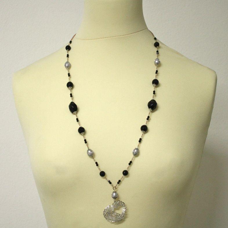 Long Necklace in Silver 925 Rhodium with Onyx and Pearls