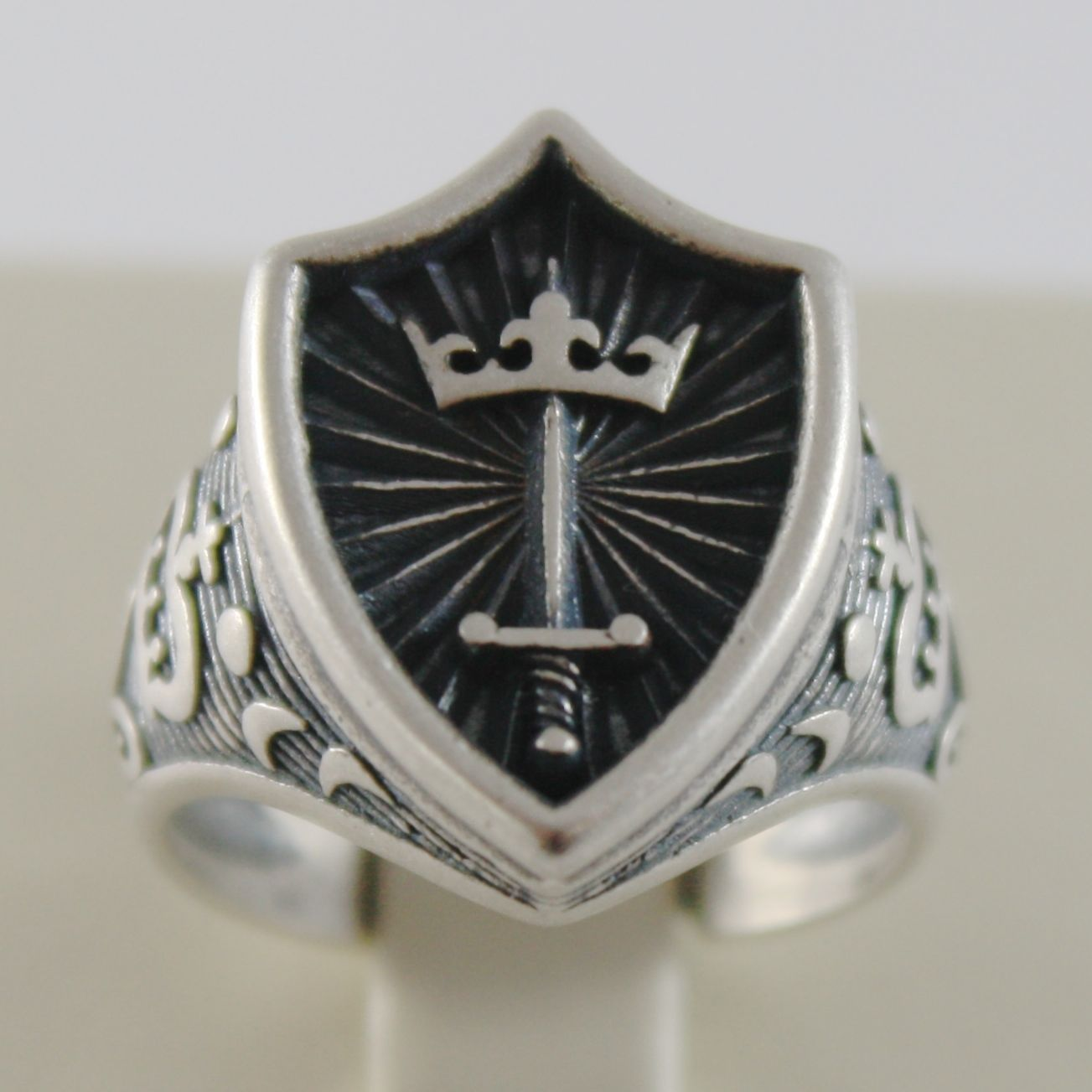 SOLID 925 BURNISHED SILVER BAND MEDIEVAL CROWN RING, SWORD ARMS, MADE IN ITALY