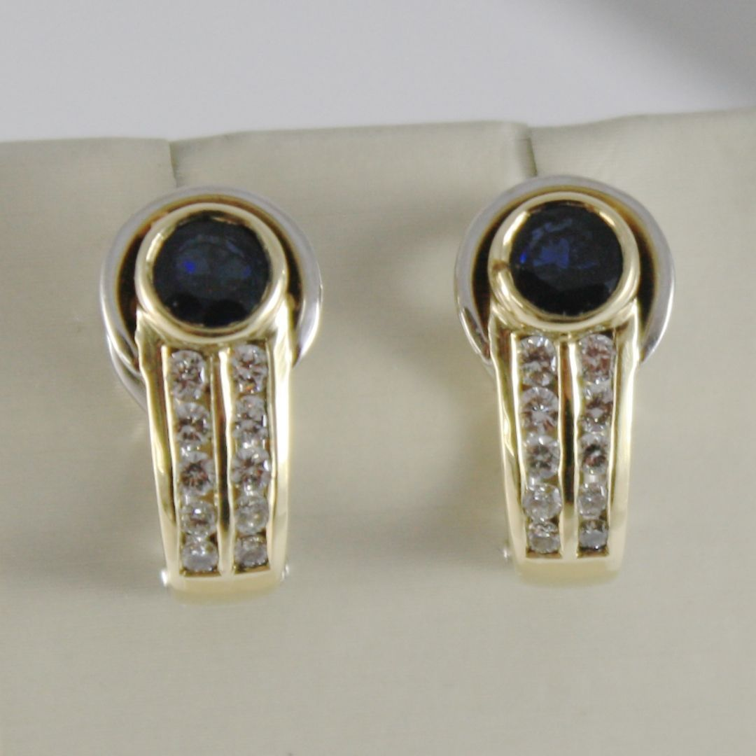 18K YELLOW WHITE GOLD CLIPS EARRINGS WITH SAPPHIRES AND DIAMONDS MADE IN ITALY