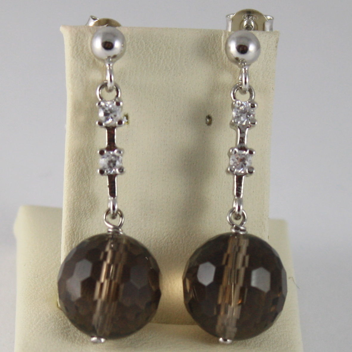 925 SILVER RHODIUM PENDANT EARRINGS ZIRCONIA SMOKY QUARTZ