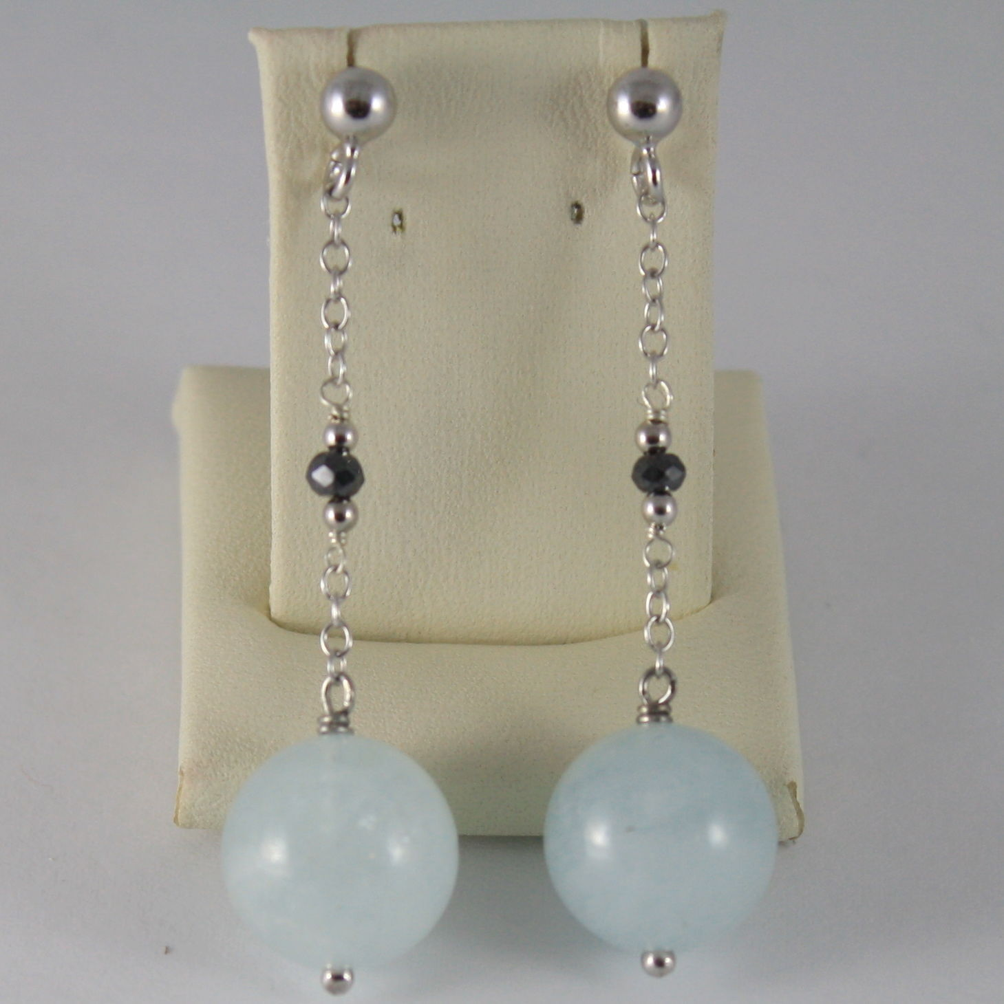 925 SILVER RHODIUM EARRINGS WITH BLACK DIAMONDS AQUAMARINE