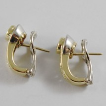 18K YELLOW WHITE GOLD CLIPS EARRINGS WITH SAPPHIRES AND DIAMONDS MADE IN ITALY image 3
