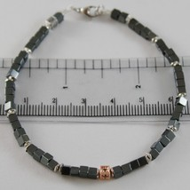 925 ROSE SILVER BRACELET 4 BLACK DIAMONDS, CUBES OF SMOOT HEMATITE MADE IN ITALY