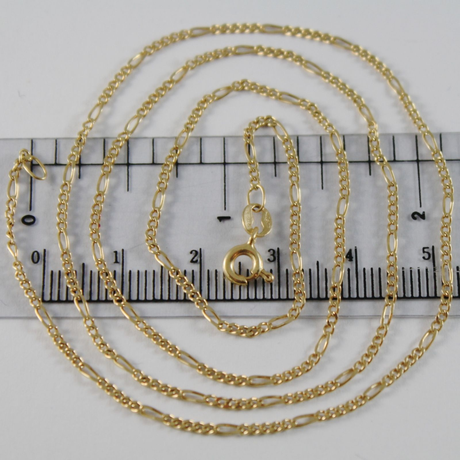 18K YELLOW GOLD CHAIN 1.5 MM FLAT CLASSIC OVAL LINK 21.20 INCHES MADE IN ITALY