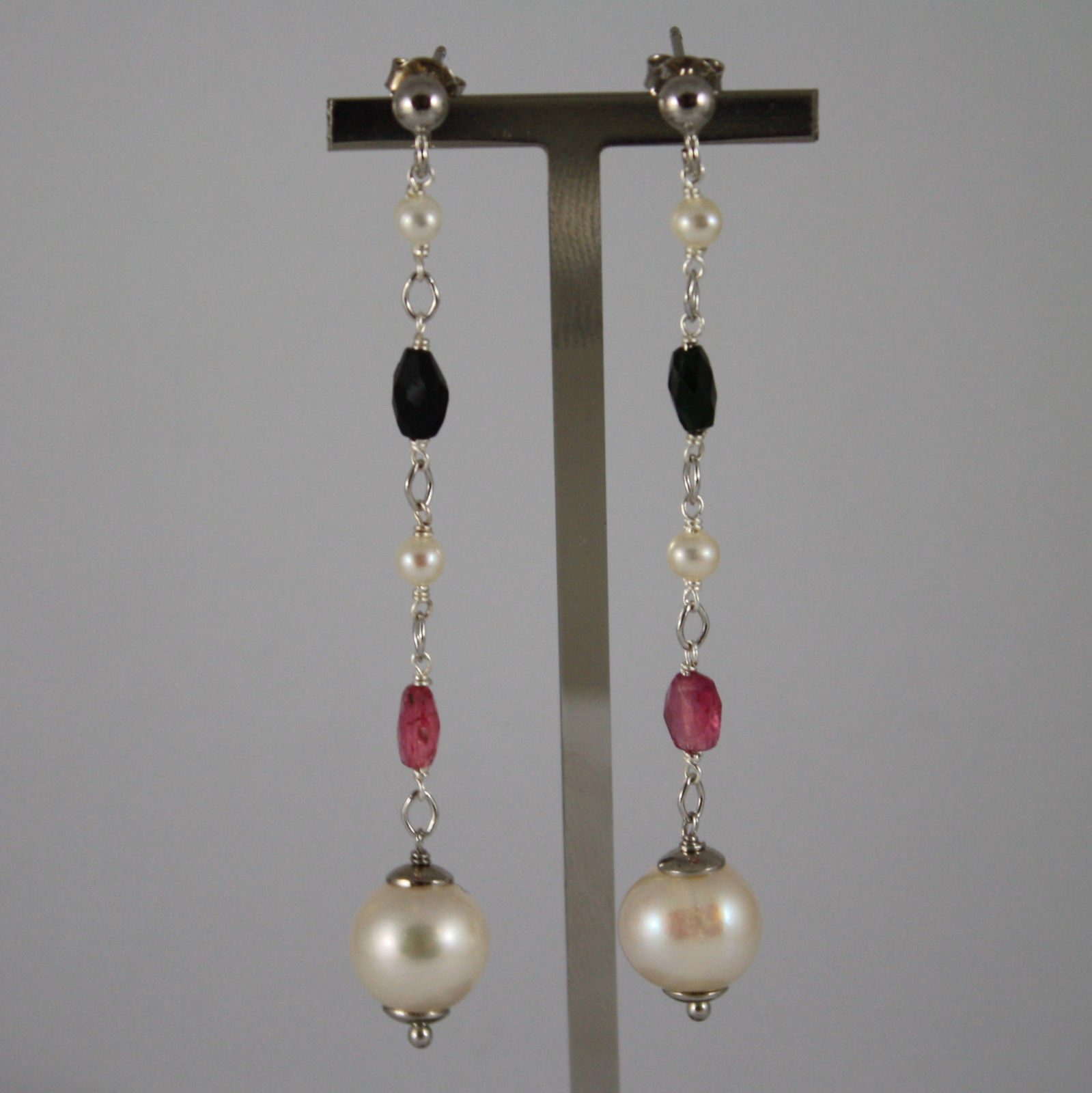 .925 RHODIUM SILVER EARRINGS WITH TOURMALINE AND FRESHWATER WHITE PEARLS