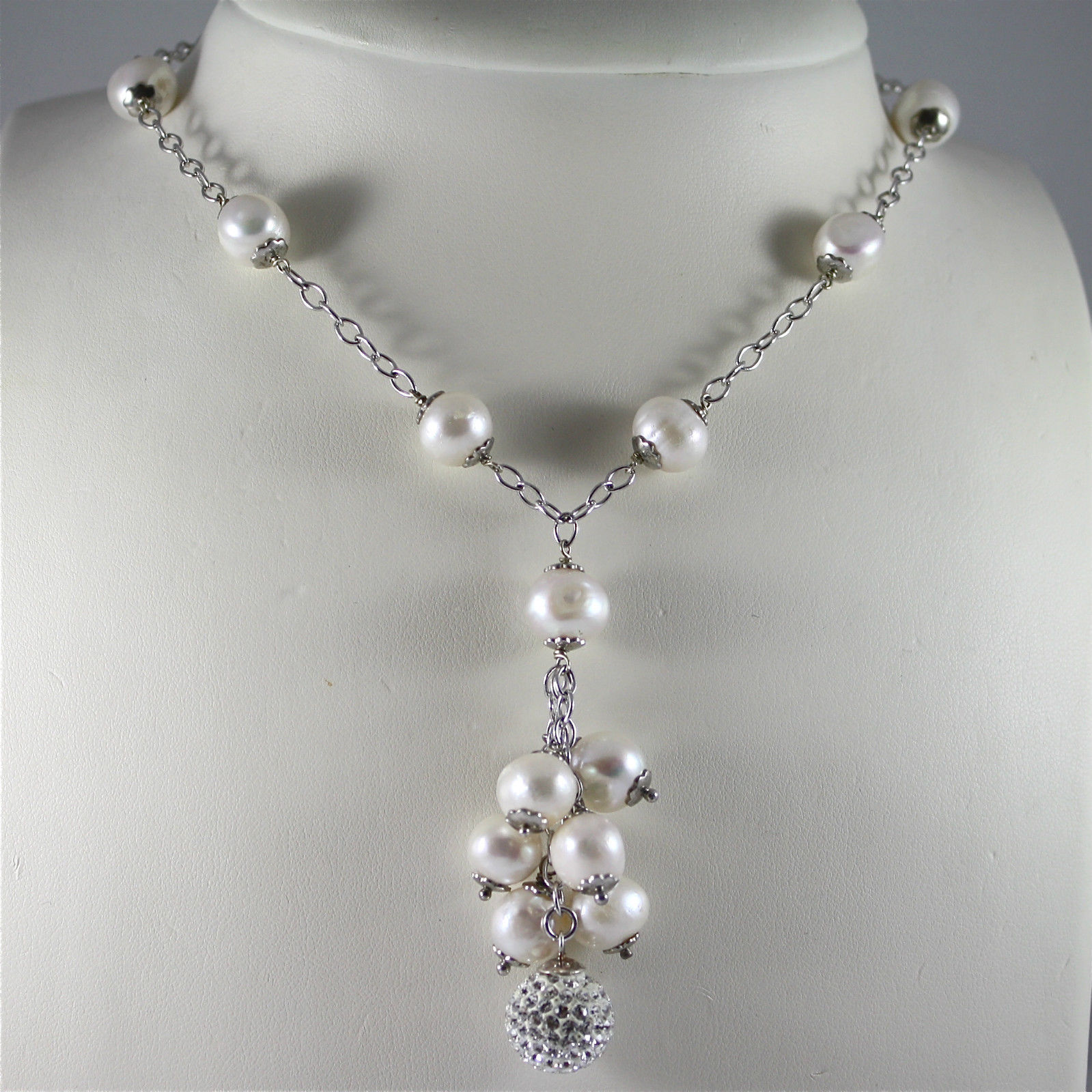 925 Silver Necklace Rhodium, Waterfall of Pearls, Crystal Ball