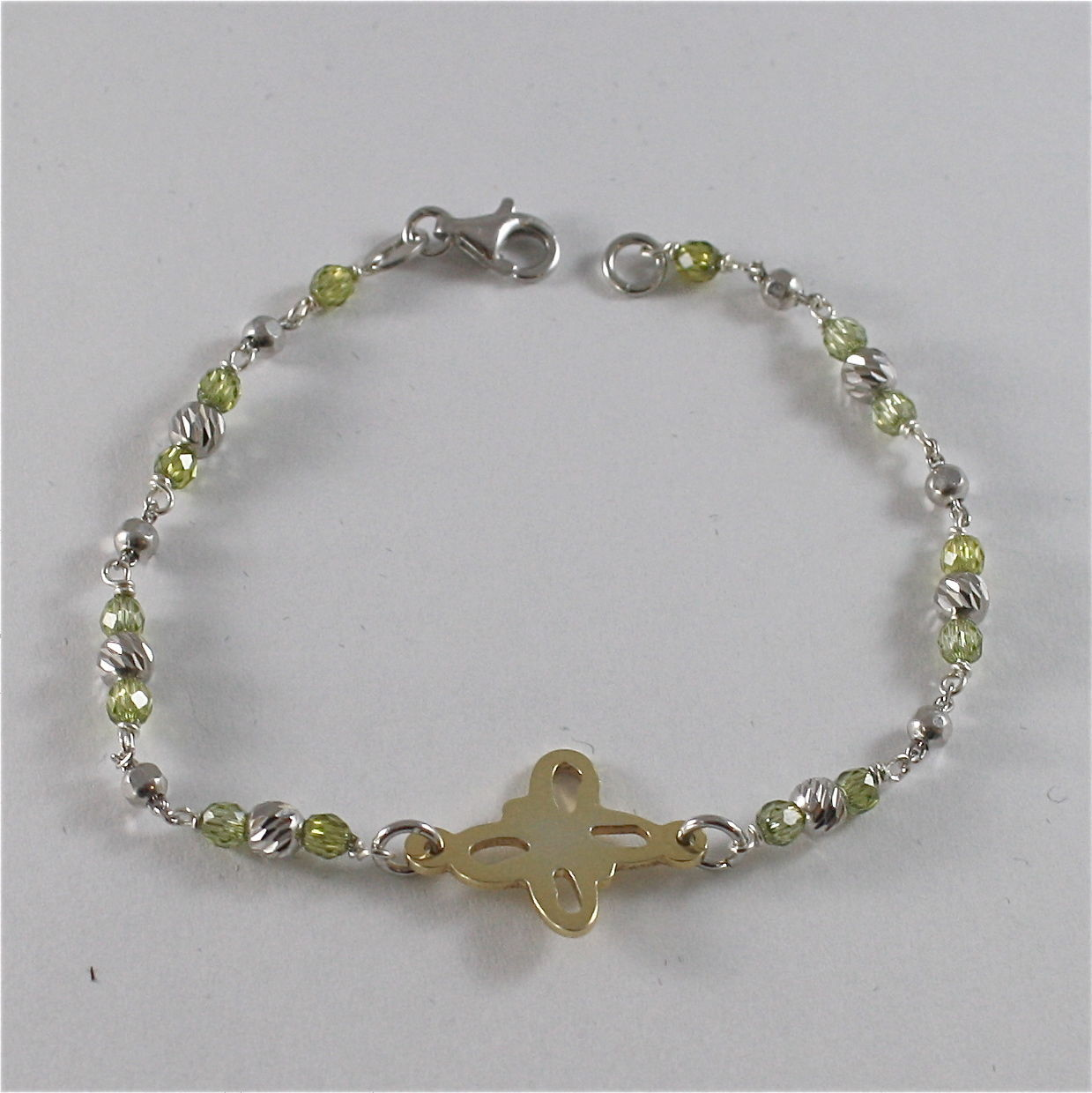 925 SILVER BRACELET WITH MULTIFACETED BALLS AND BUTTERFLY, MADE IN ITALY, 58 USD