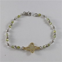 925 SILVER BRACELET WITH MULTIFACETED BALLS AND BUTTERFLY image 1