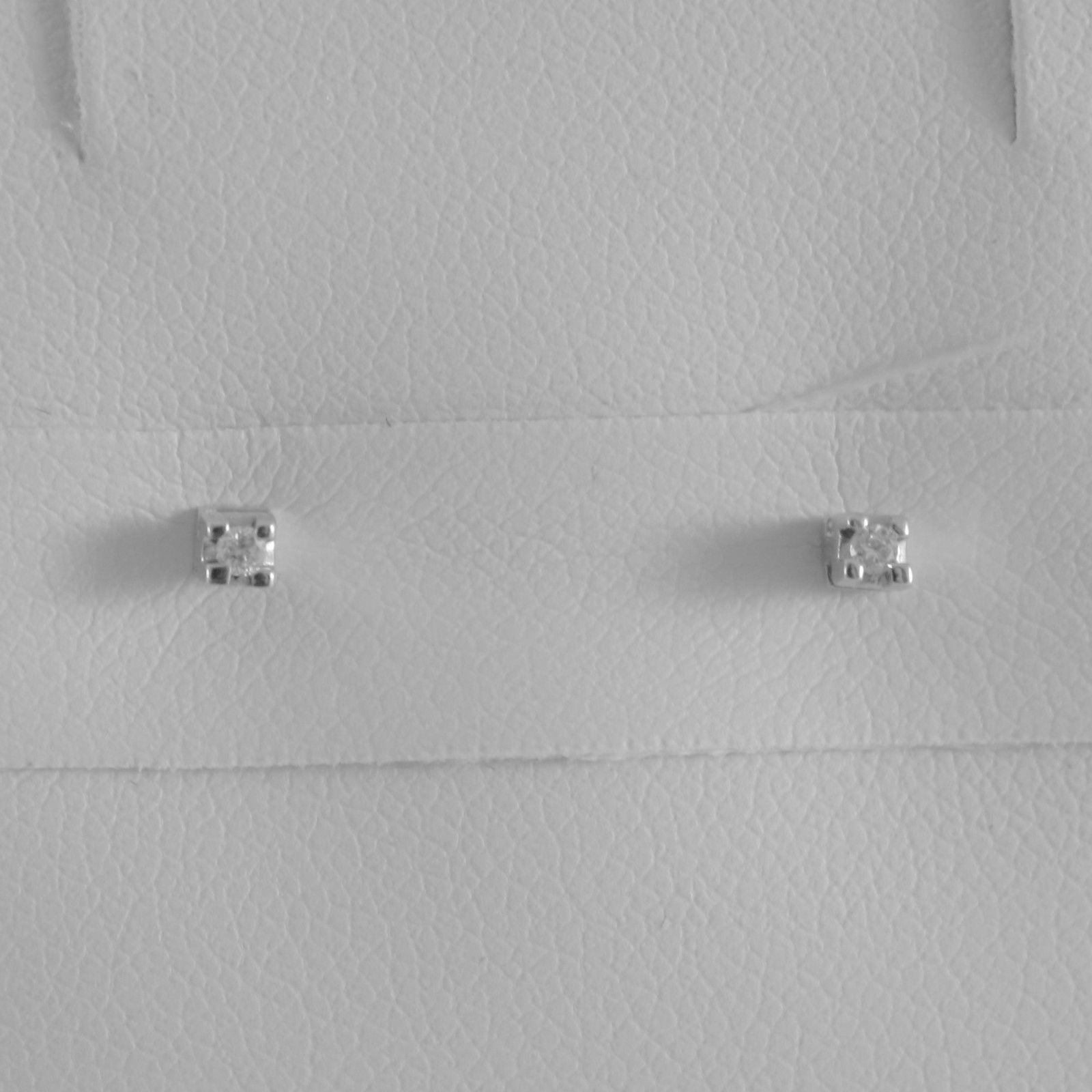 18K WHITE GOLD MINI SQUARE EARRINGS DIAMOND DIAMONDS 0.03 CT, MADE IN ITALY