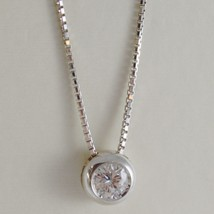 18K WHITE GOLD NECKLACE WITH DIAMOND 0.31 CARATS, VENETIAN CHAIN MADE IN ITALY