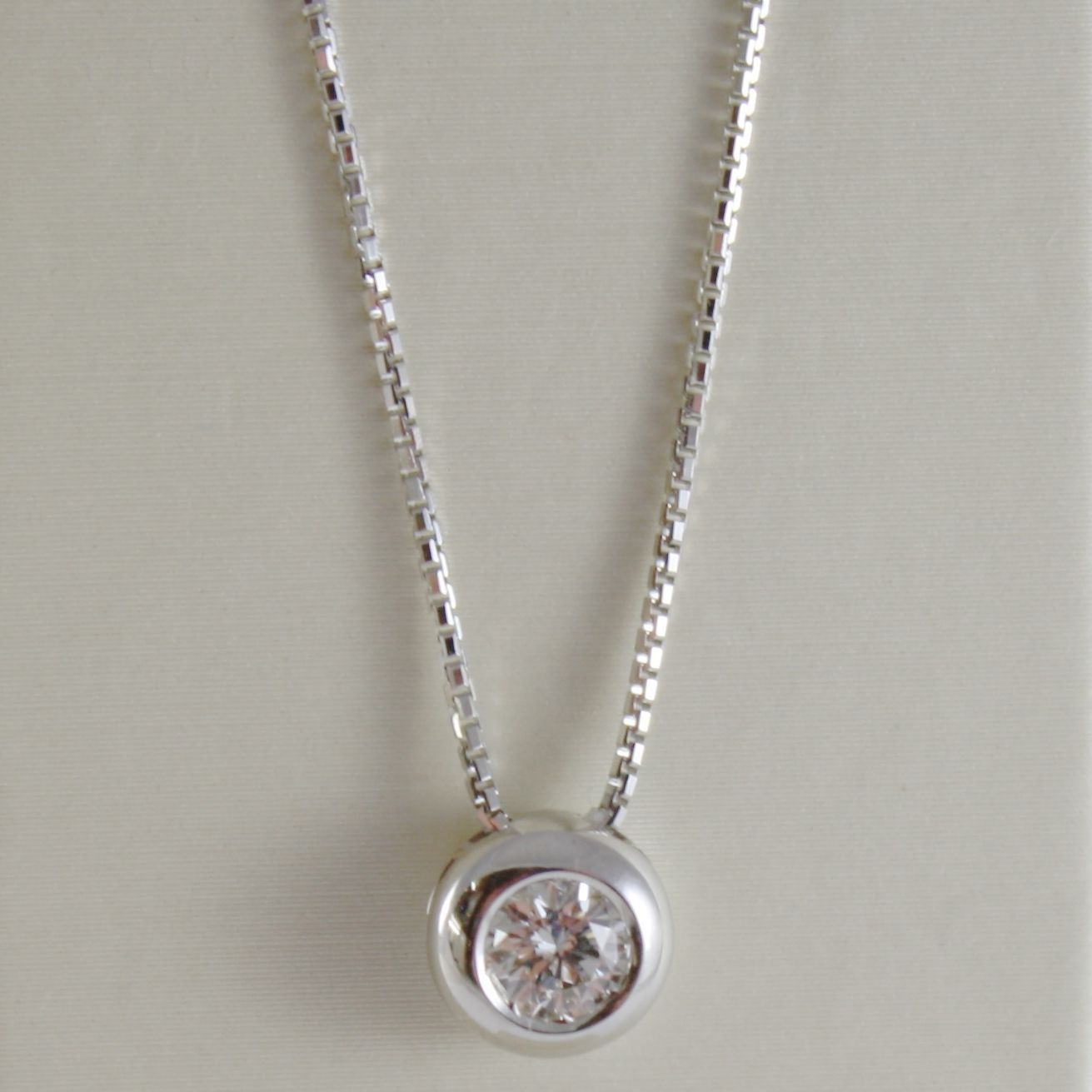 18K WHITE GOLD NECKLACE WITH DIAMOND 0.25 CARATS, VENETIAN CHAIN MADE IN ITALY