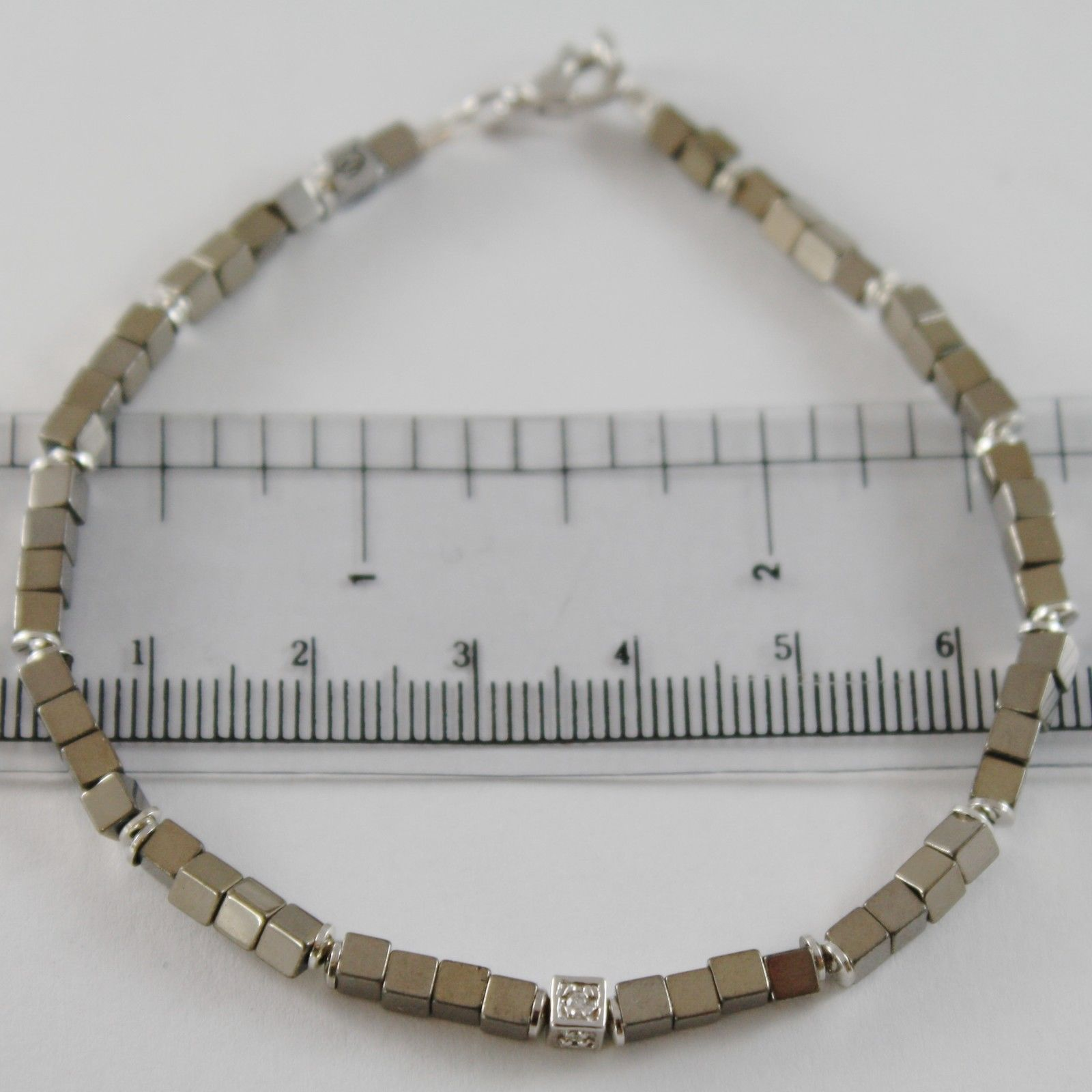 925 SILVER BRACELET 4 WHITE DIAMONDS & GREY CUBES SMOOTH HEMATITE MADE IN ITALY