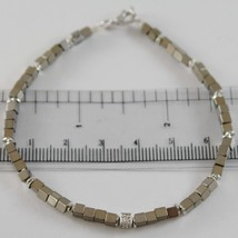 925 SILVER BRACELET 4 WHITE DIAMONDS & GREY CUBES SMOOTH HEMATITE MADE IN ITALY image 1