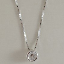18K WHITE GOLD NECKLACE WITH DIAMOND 0.07 CARATS VENETIAN CHAIN MADE IN ITALY