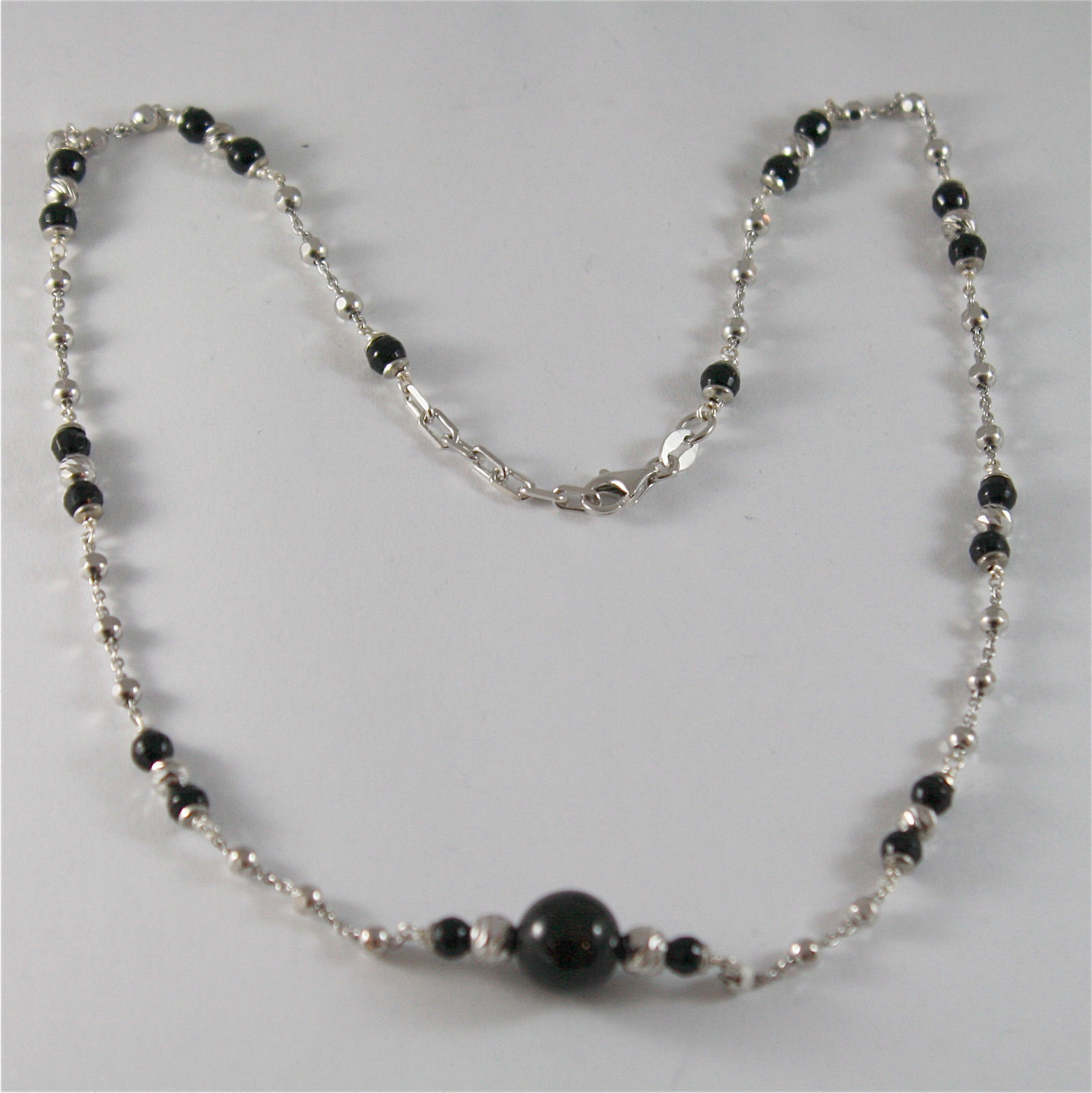 925 SILVER NECKLACE WITH 8 MM ROUND ONYX AND FACETED BALLS ITALIAN JEWELLERY