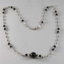 925 SILVER NECKLACE WITH 8 MM ROUND ONYX AND FACETED BALLS image 1