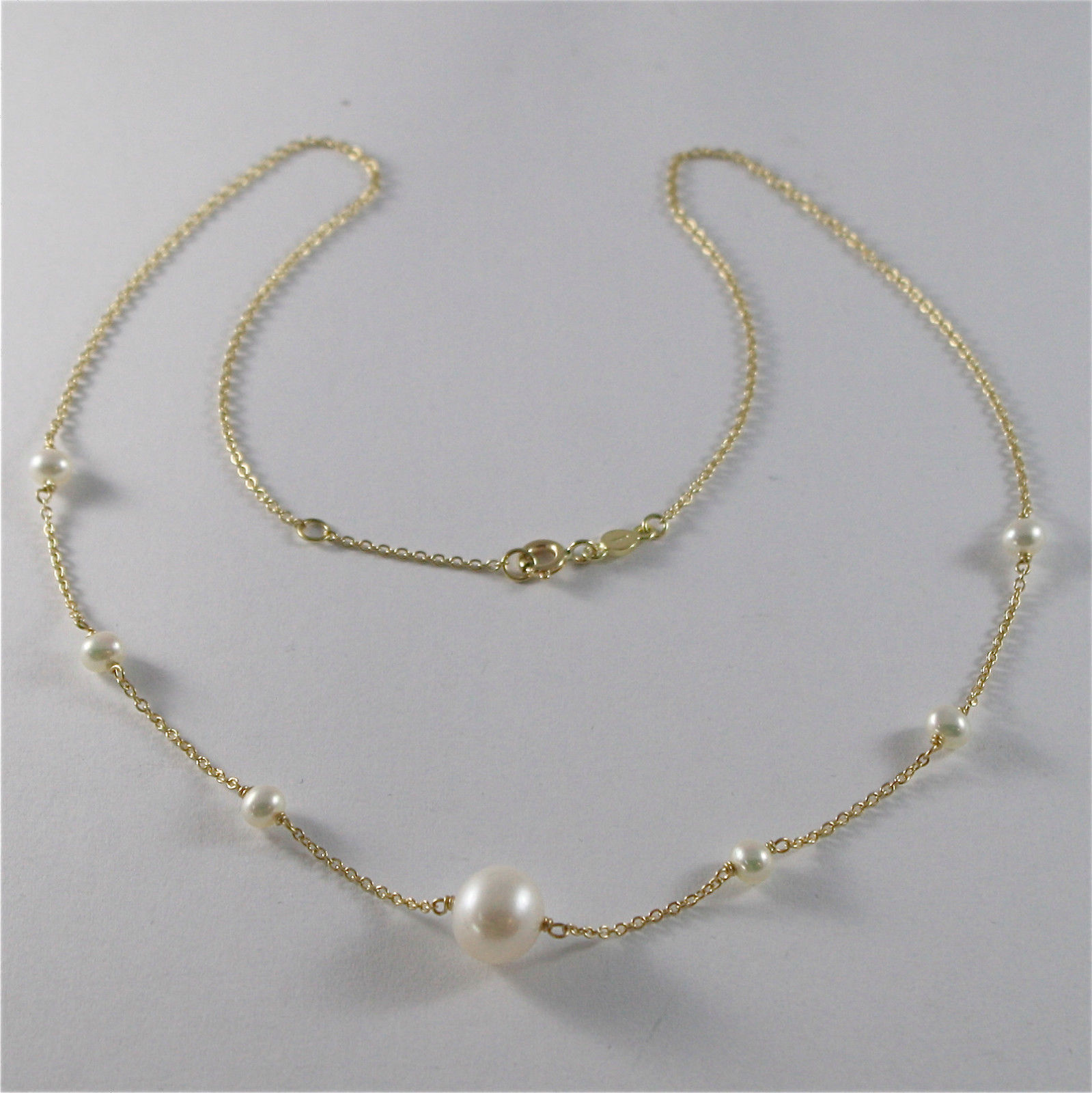 18K YELLO GOLD NECKLACE WITH ROUND WHITE FRESHWATER PEARLS MADE IN ITALY 390 USD