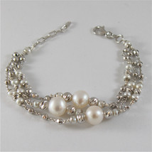 925 SILVER BRACELET WITH 8 MM ROUND FW PEARL AND FACETED BALLS ITALIAN JEWELLERY