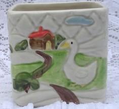 Vintage OMC Japan Baby Nursery Planter Goose Fa... - $15.99