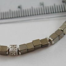 925 SILVER BRACELET 4 WHITE DIAMONDS & GREY CUBES SMOOTH HEMATITE MADE IN ITALY image 2