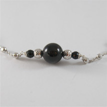 925 SILVER NECKLACE WITH 8 MM ROUND ONYX AND FACETED BALLS image 2