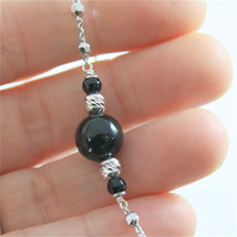 925 SILVER NECKLACE WITH 8 MM ROUND ONYX AND FACETED BALLS image 4