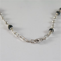 925 SILVER NECKLACE WITH 8 MM ROUND ONYX AND FACETED BALLS image 6