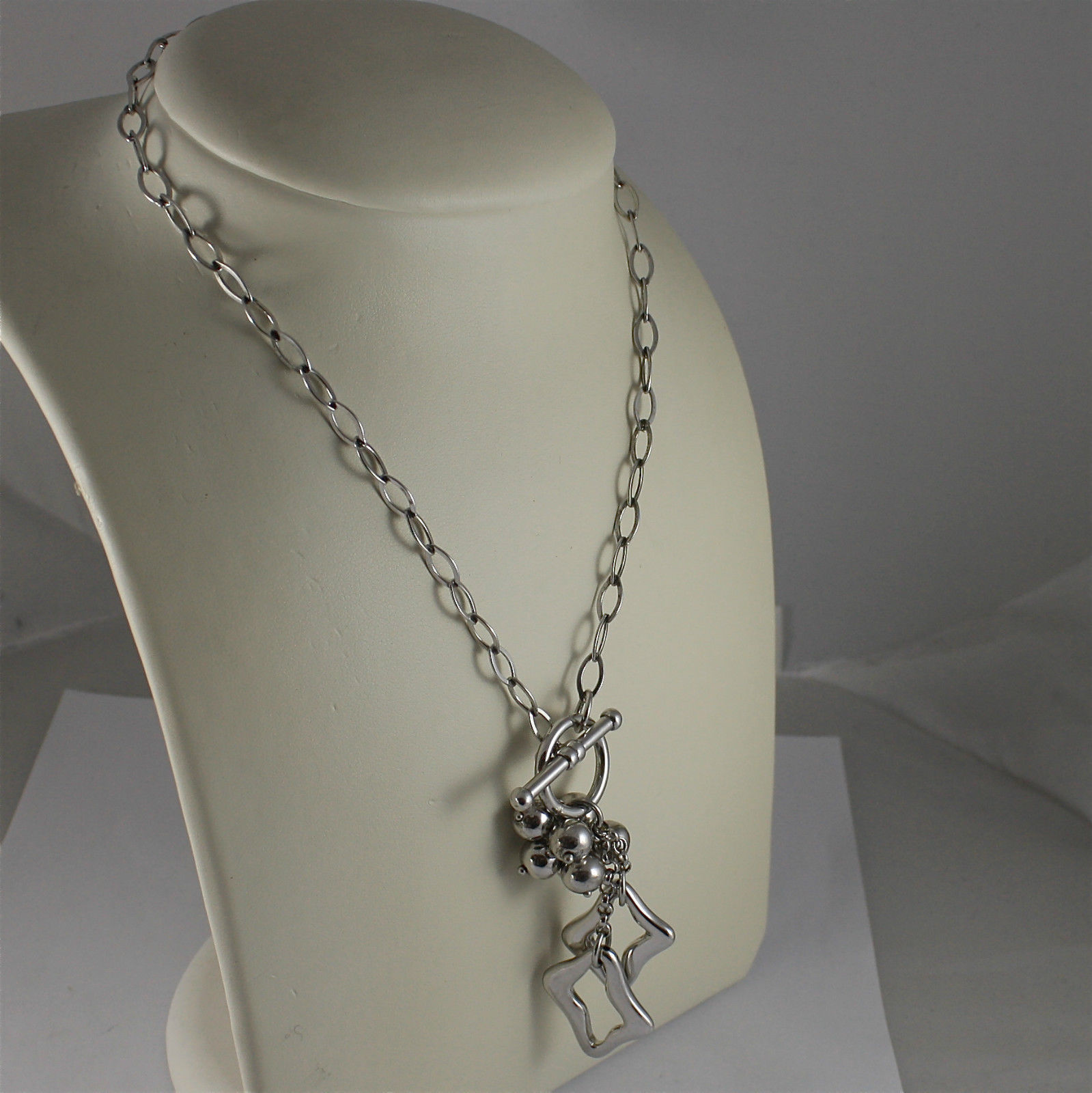 .925 RHODIUM SILVER NECKLACE, CENTRAL BALL'S GROOVE, TWO PENDANTS, OVAL MESH.