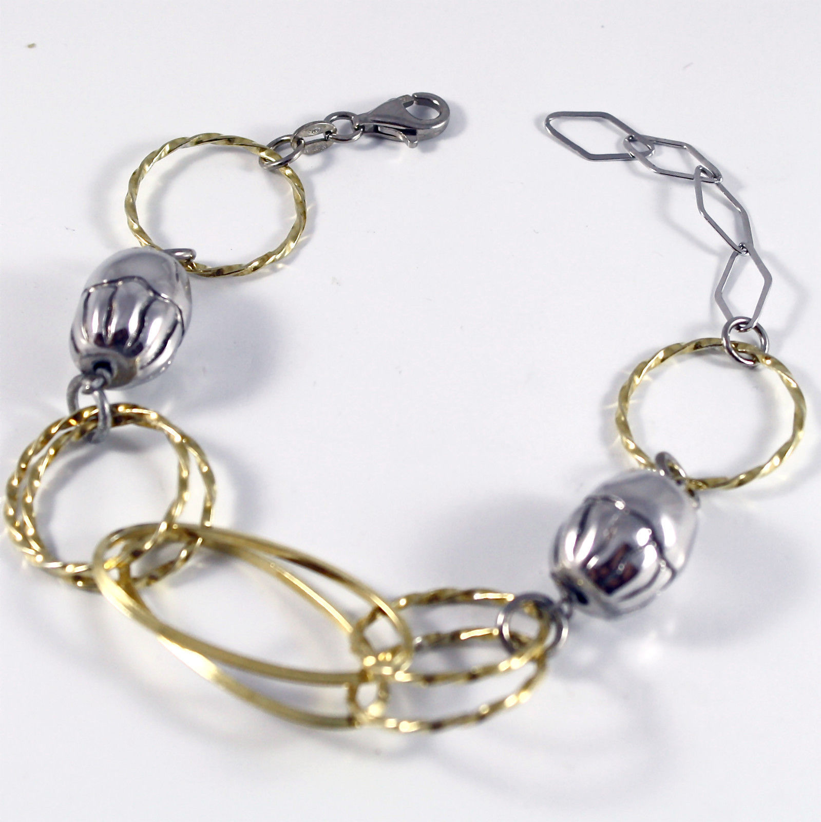 Bracelet in Sterling Silver 925 Rhodium, Yellow Gold Plated, sweaters worked