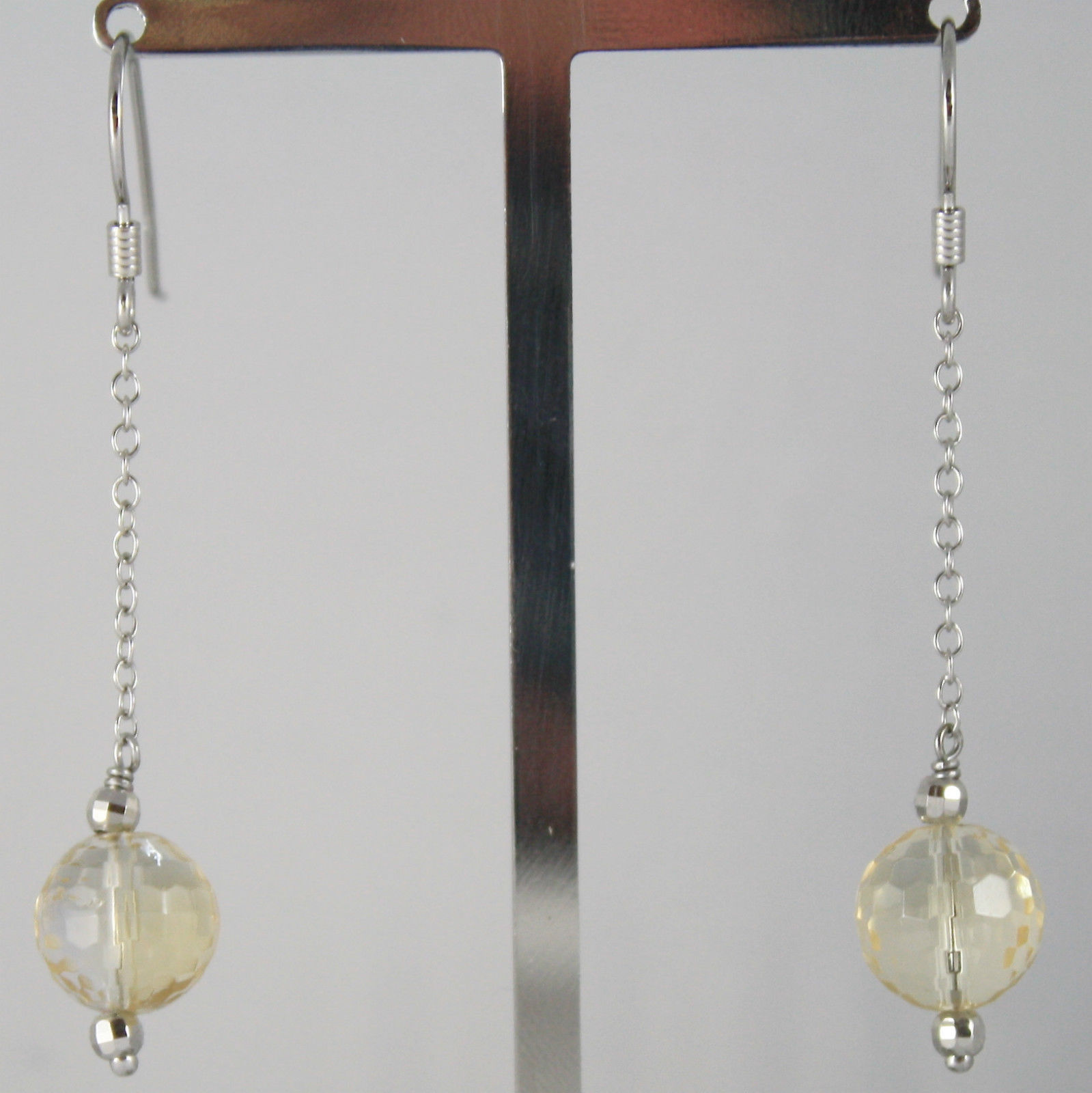 925 SILVER RHODIUM PENDANT EARRINGS WITH FACETED CITRINE