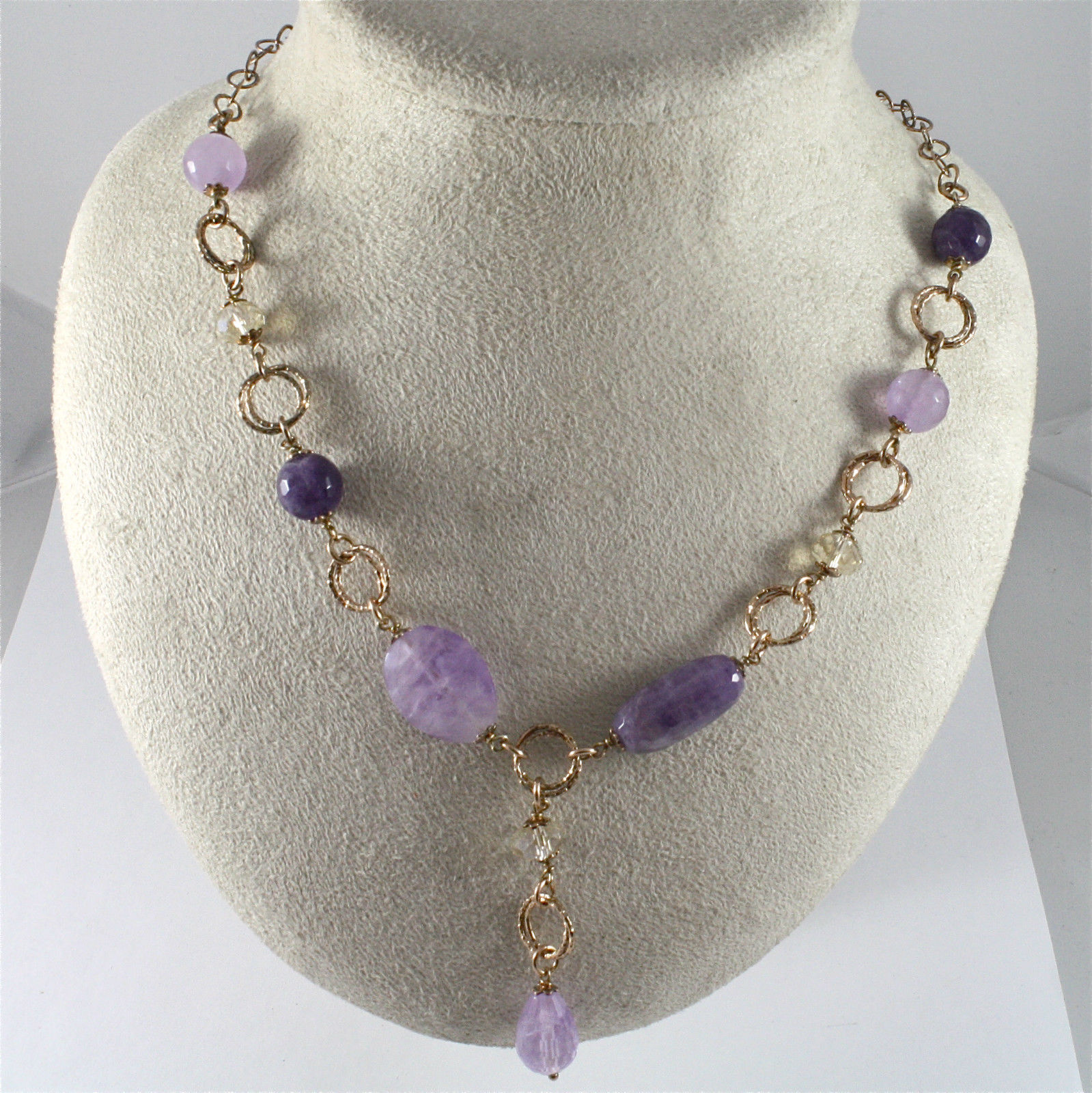 925 Silver Necklace, Plated with Crystals ospreys and Amethyst
