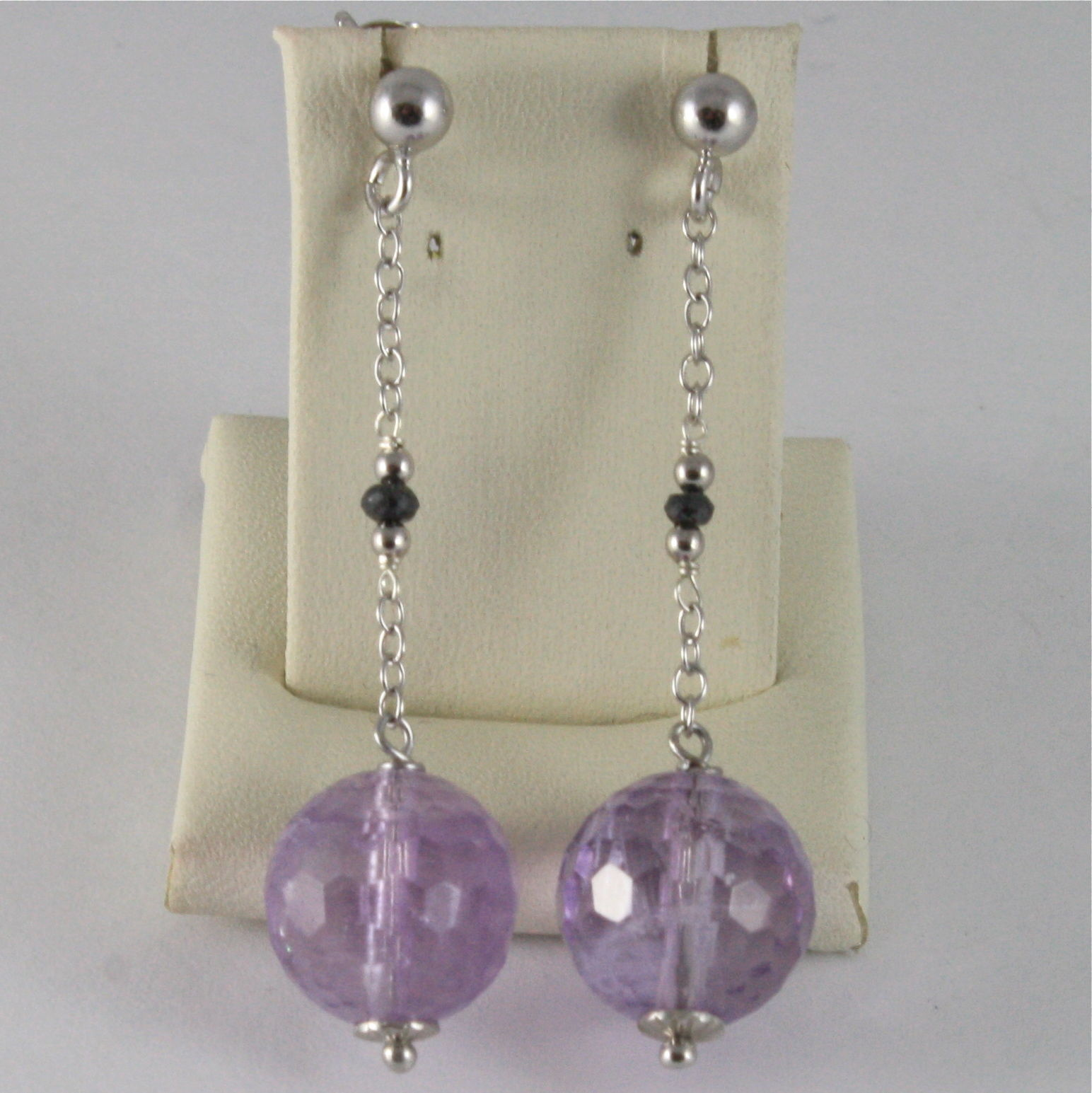 925 SILVER RHODIUM EARRINGS WITH BLACK DIAMONDS, AMETHYST