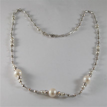 925 SILVER NECKLACE WITH 8 MM ROUND FW PEARL AND FACETED BALLS image 1