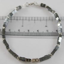 925 SILVER BRACELET 8 WHITE DIAMONDS, BLACK CUBES SMOOTH HEMATITE MADE IN ITALY