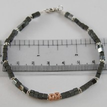 925 ROSE SILVER BRACELET 8 BLACK DIAMONDS & CUBES SMOOTH HEMATITE MADE IN ITALY