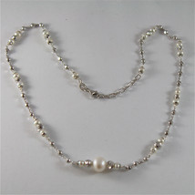 925 SILVER NECKLACE WITH 8 MM ROUND FW PEARL AND FACETED BALLS ITALIAN J... - $118.75