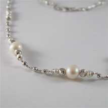 925 SILVER NECKLACE WITH 8 MM ROUND FW PEARL AND FACETED BALLS image 2
