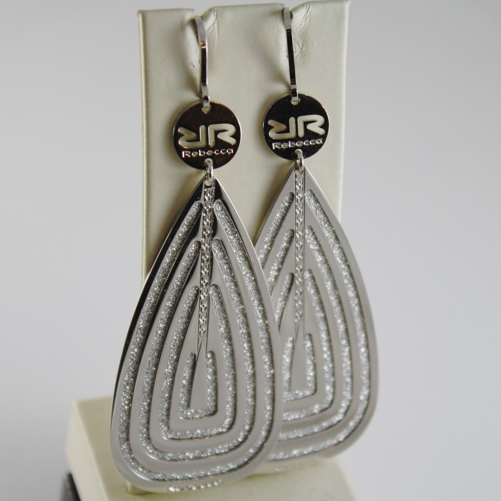 WHITE GOLD PLATED BRONZE REBECCA EARRINGS BIG DROP INFINITY GLAM MADE IN ITALY