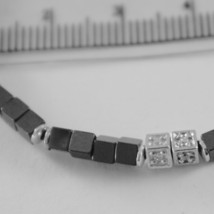 925 SILVER BRACELET 8 WHITE DIAMONDS, BLACK CUBES SMOOTH HEMATITE MADE IN ITALY image 2