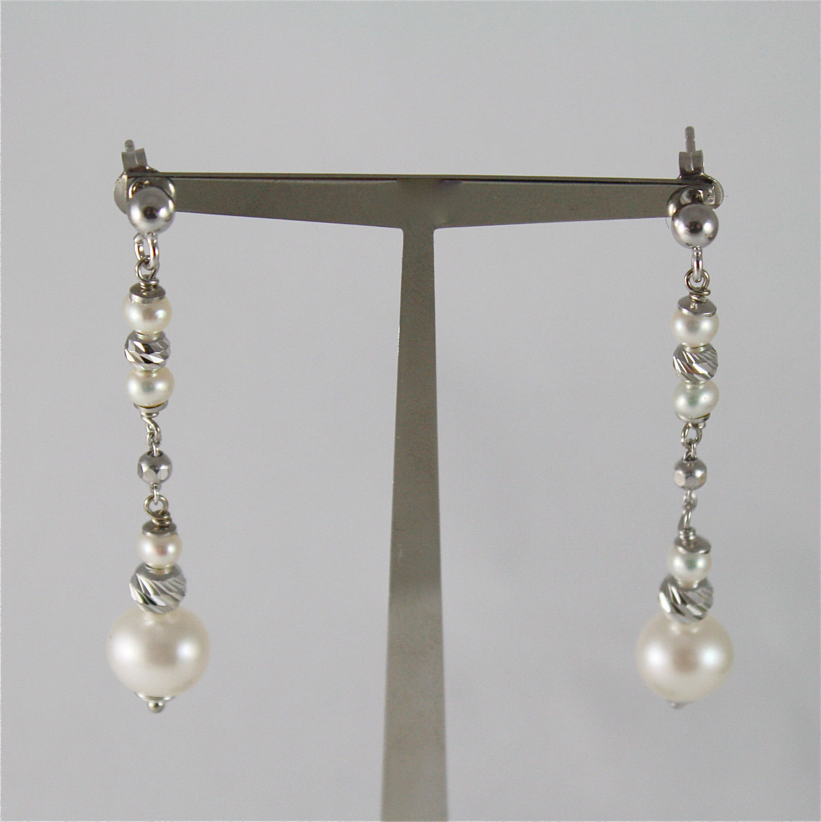 925 SILVER EARRINGS WITH 8 MM ROUND FW PEARL AND FACETED BALLS ITALIAN JEWELLERY