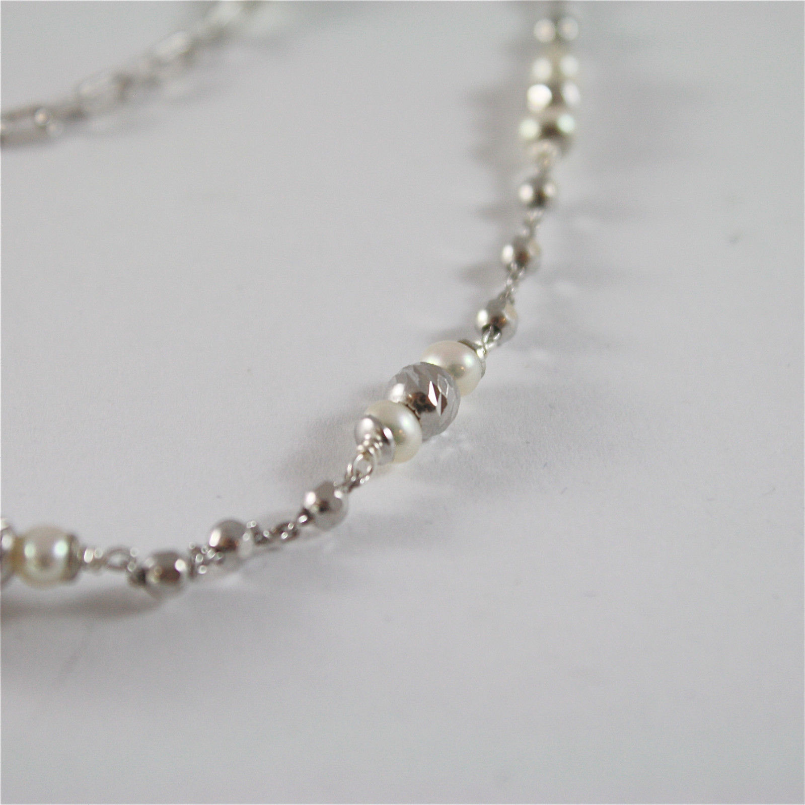 925 SILVER NECKLACE WITH 8 MM ROUND FW PEARL AND FACETED BALLS ITALIAN JEWELLERY