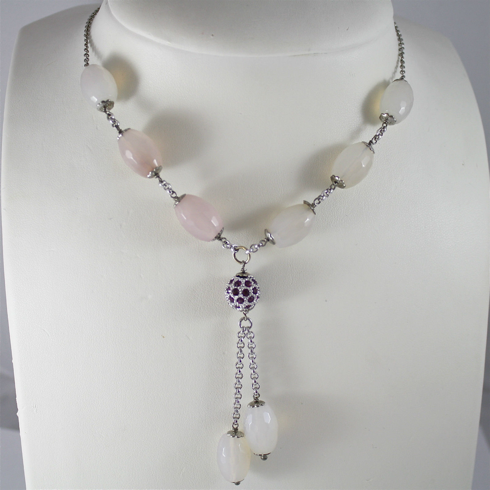 925 Silver Necklace Rhodium, Rose Quartz, Crystal Ball, 2 pending