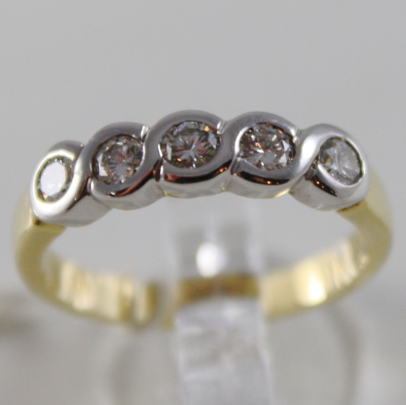 SOLID 18K WHITE & YELLOW GOLD BAND RING ETERNITY WITH 5 DIAMONDS, MADE IN ITALY