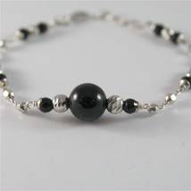925 SILVER BRACELET WITH 8 MM ROUND ONYX AND FACETED BALLS ITALIAN JEWELLERY image 2