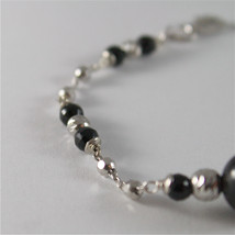 925 SILVER BRACELET WITH 8 MM ROUND ONYX AND FACETED BALLS ITALIAN JEWELLERY image 3