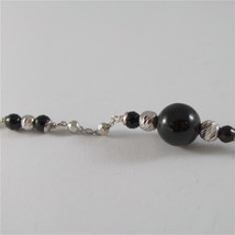 925 SILVER BRACELET WITH 8 MM ROUND ONYX AND FACETED BALLS ITALIAN JEWELLERY image 4
