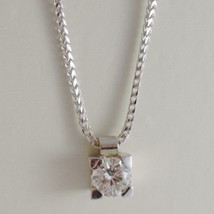 18K WHITE GOLD NECKLACE WITH DIAMOND 0.50 CARATS, EAR MESH CHAIN MADE IN ITALY