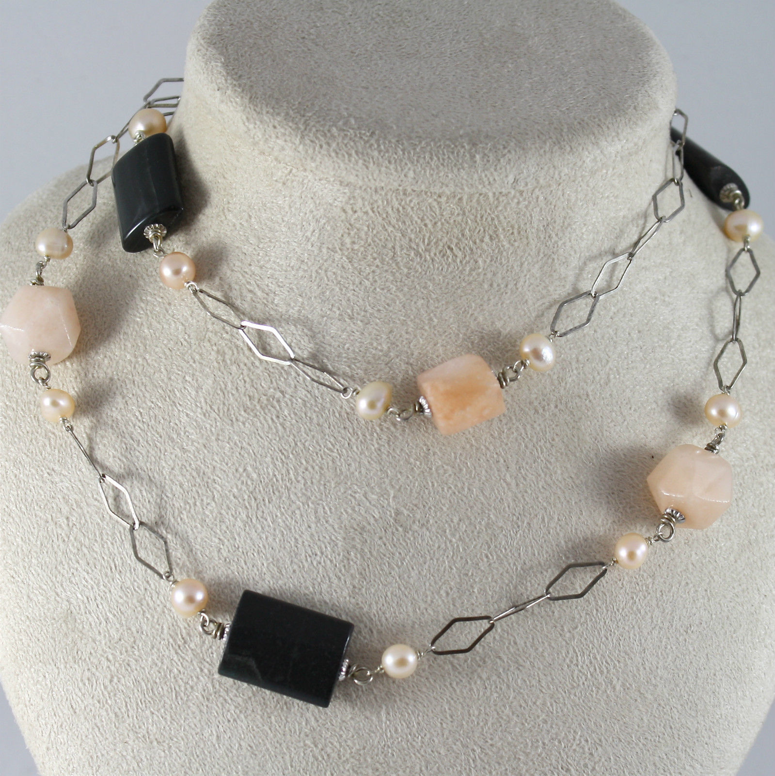 925 Silver Necklace Rhodium, Diamond Grid, Jasper, Jade, and Pink Pearls