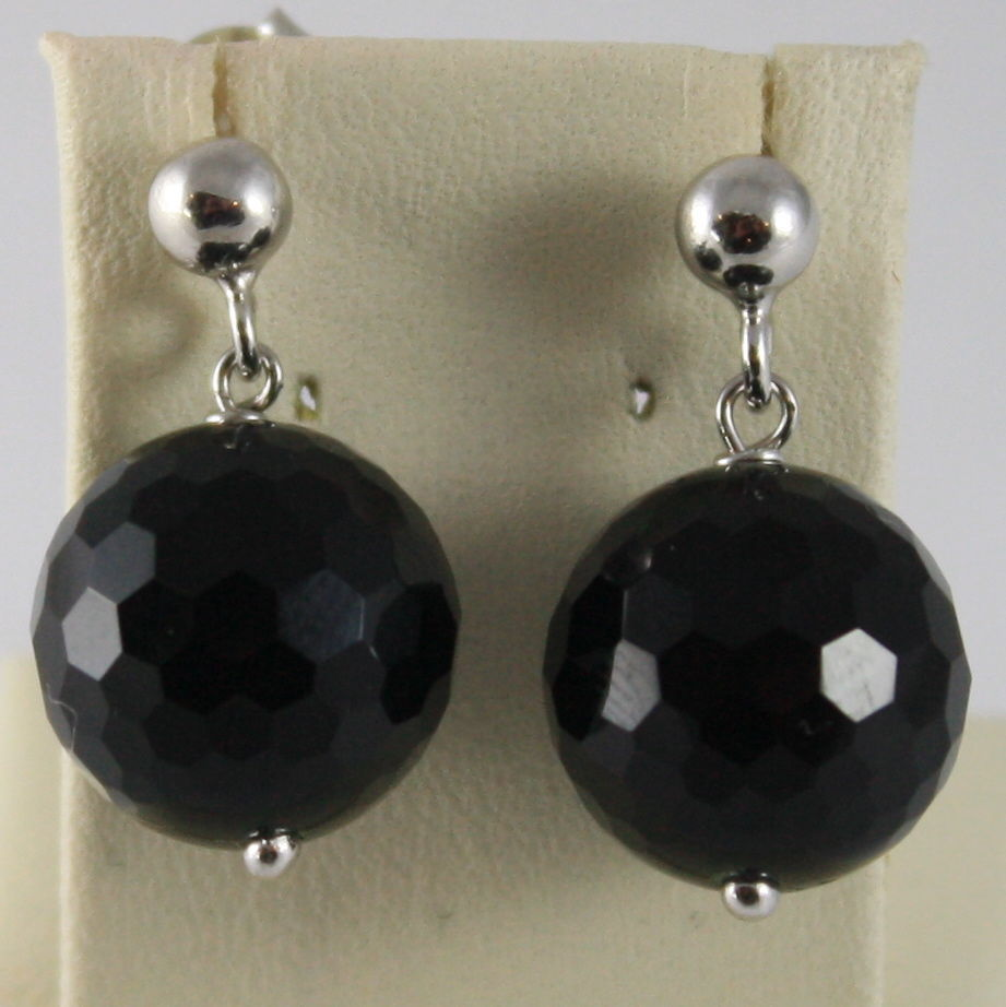 925 SILVER RHODIUM PENDANT EARRINGS WITH FACETED ONYX